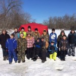 Kids' Ice Fishing Day on Lemonwier River in New Lisbon. A big thank you to the landowner for the opportunity to fish here.